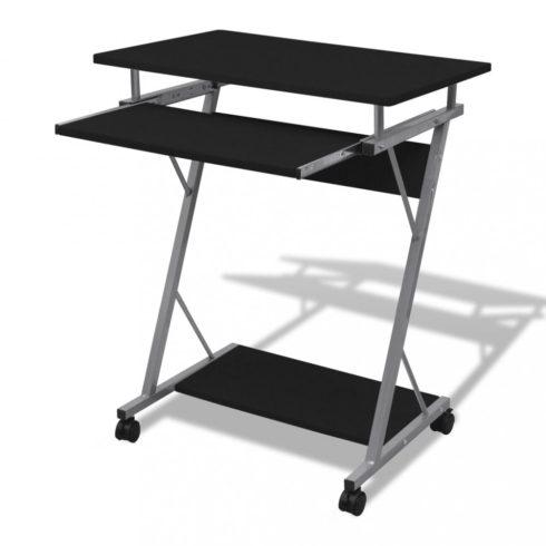 Számítógépes íróasztal kihúzható tálcás íróasztal fekete