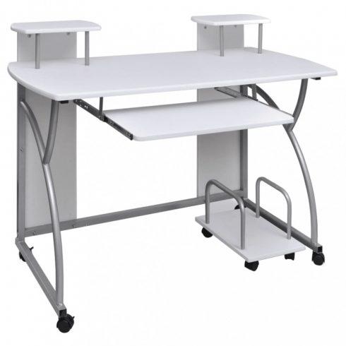 Mozgatható számítógépasztal kihúzható tálcával diákok számára fehér