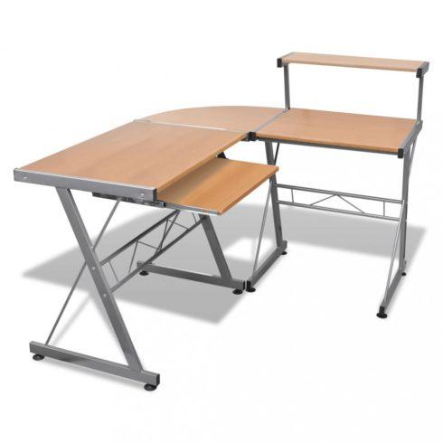 Computer desk íróasztal kihúzható billentyűzet tálcás barna