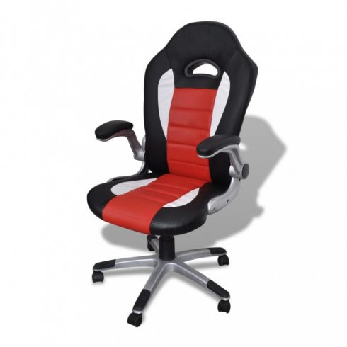 Piros irodai műbőr szék modern tervezéssel