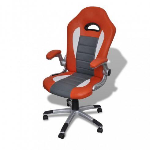 Modern tervezésű irodai szék mesterséges bőr narancssárga