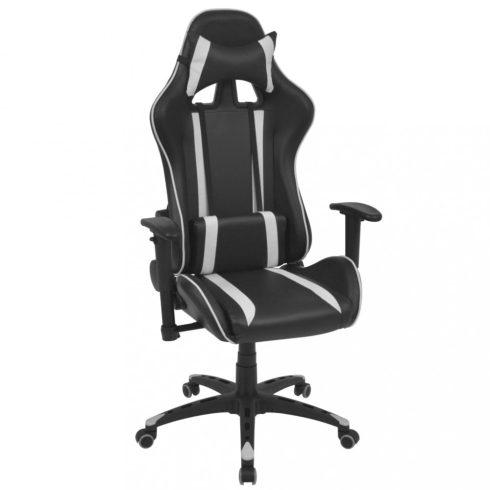 Fekete fehér dönthető háttámlás versenyautó ülés alakú irodai szék