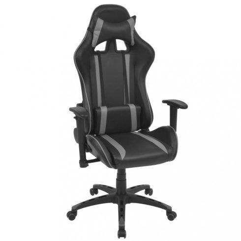 Szürke dönthető háttámlás versenyautó ülés alakú irodai szék