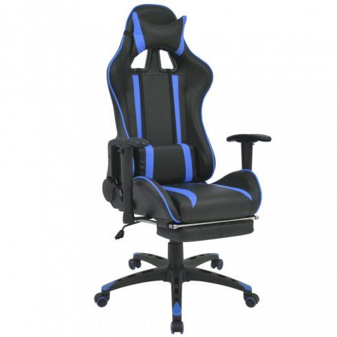 Kék dönthető versenyautó ülés alakú irodai szék lábtartóval