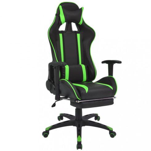 Zöld dönthető versenyautó ülés alakú irodai szék lábtartóval