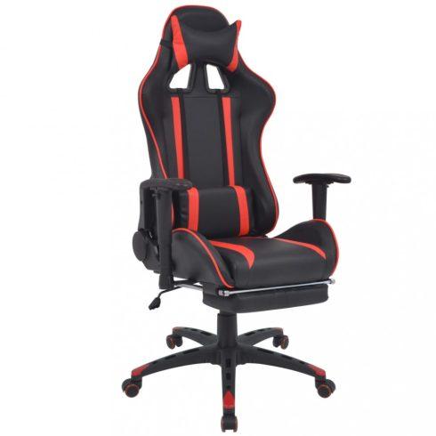 Piros dönthető versenyautó ülés alakú irodai szék lábtartóval