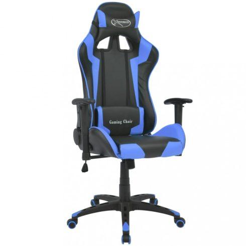 Kék dönthető versenyautó ülés alakú műbőr irodai szék