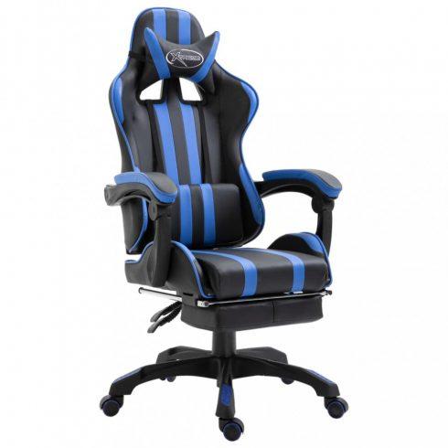 Kék pu gamer szék lábtartóval