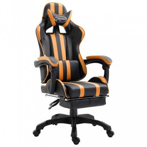Narancssárga pu gamer szék lábtartóval