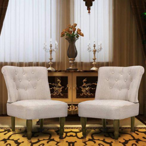 2 db krémszínű francia szövet fotel