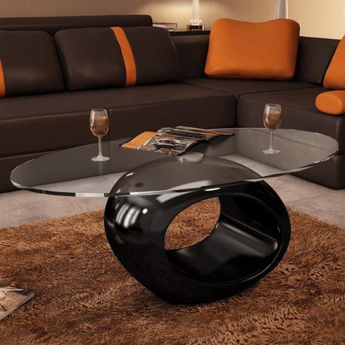 Magasfényű fekete dohányzóasztal ovális üveglappal