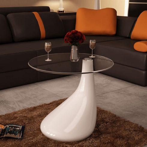 Magasfényű fehér dohányzóasztal kerek üveglappal