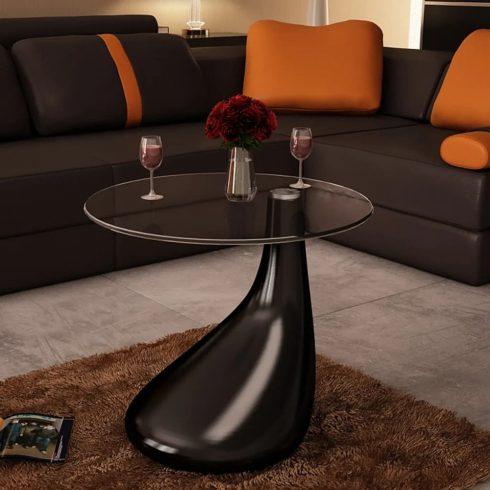 Magasfényű fekete dohányzóasztal kerek üveglappal
