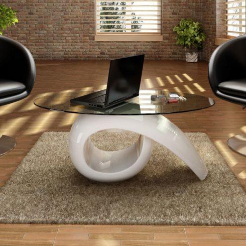 Magasfényű fehér dohányzóasztal ovális üveglappal