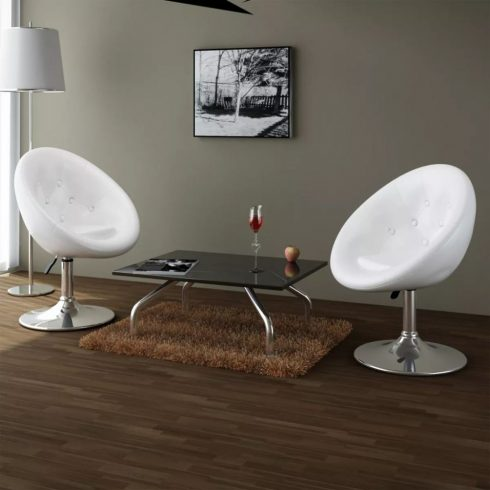 2 db fehér műbőr fotel