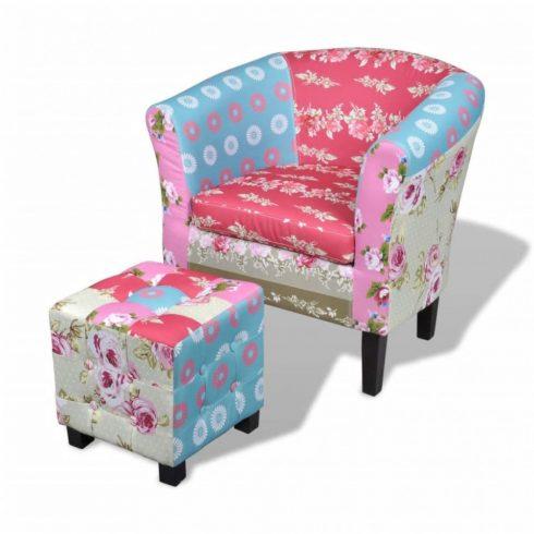 Foltvarrott dizájnú fotel lábzsámollyal