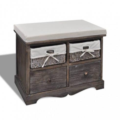Barna tároló pad 2 db fonott kosárral 2 db fiókkal és ülőpárnával