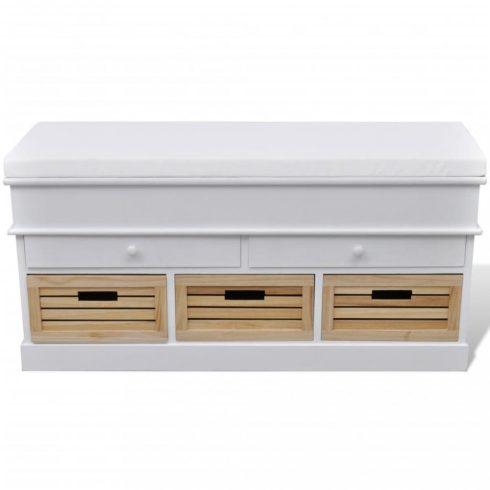 Tároló / bejárati párnatetős 2 fiókos és 3 tároló láda / pad fehér