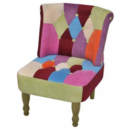 Foltvarrott dizájnú, karfa nélküli francia fotel