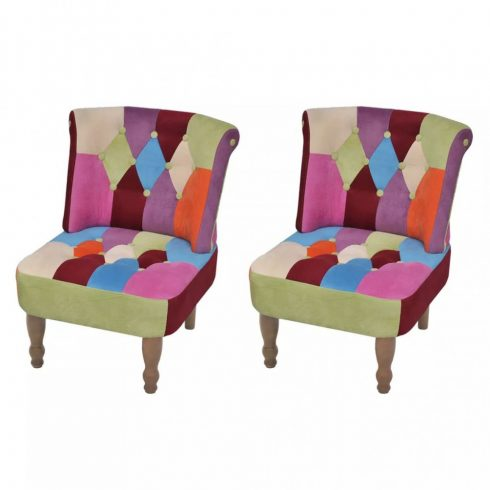 2 db foltvarrott dizájnú, karfa nélküli francia fotel
