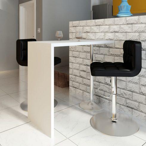 Magasfényű fehér mdf bárasztal 1 acél lábbal