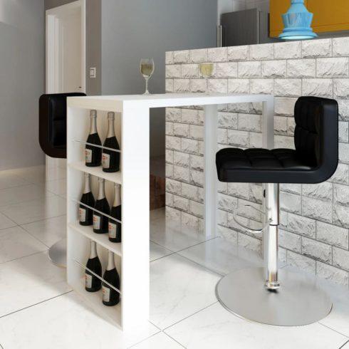 Fehér magasfényű mdf bárasztal bortartóval
