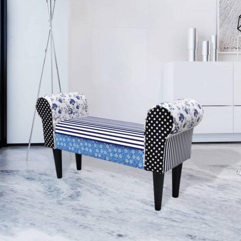 Vidéki stílusú kék / fehér patchwork ülőke