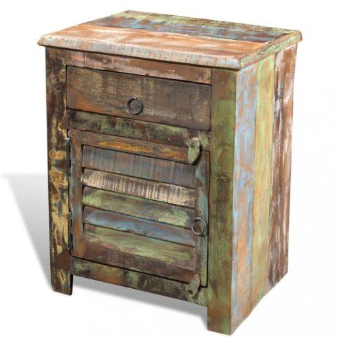 Egyajtós, egyfiókos újrahasznosított fa kisasztal