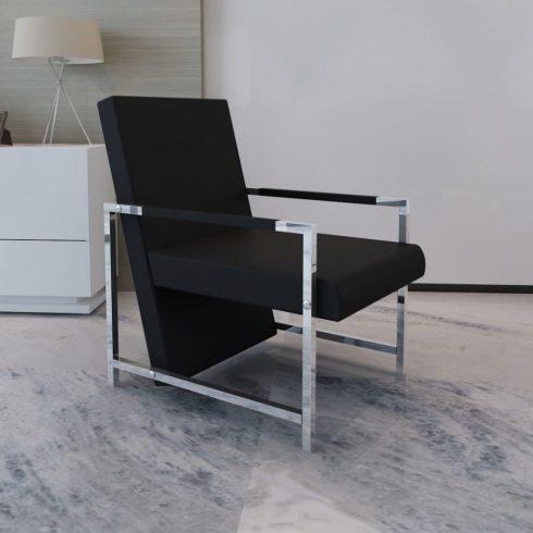 Fekete műbőr fotel króm lábakkal