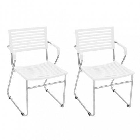 2 db fehér, rakásolható, műanyag karfás szék vas vázzal