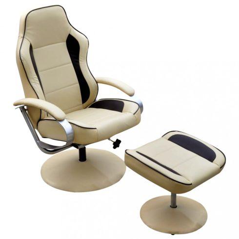 Krémfehér műbőr fotel állítható lábtartóval