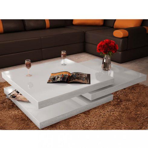 3 szintes magasfényű fehér dohányzóasztal