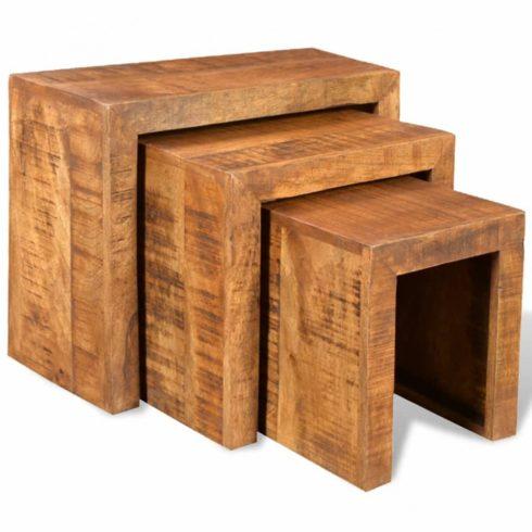 3 részes tömör mangófa, egymásba tolható asztal