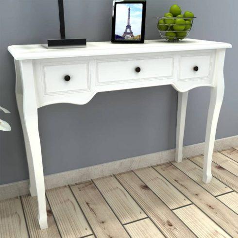 Fehér fésülködőasztal három fiókkal
