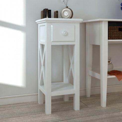 Fehér, fiókos kisasztal