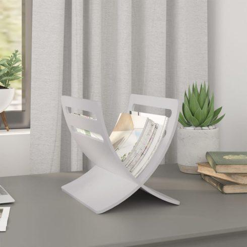 Fehér álló fa újságtartó állvány