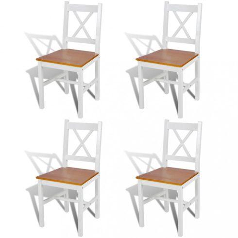 4 db fehér és természetes fa étkezőszék