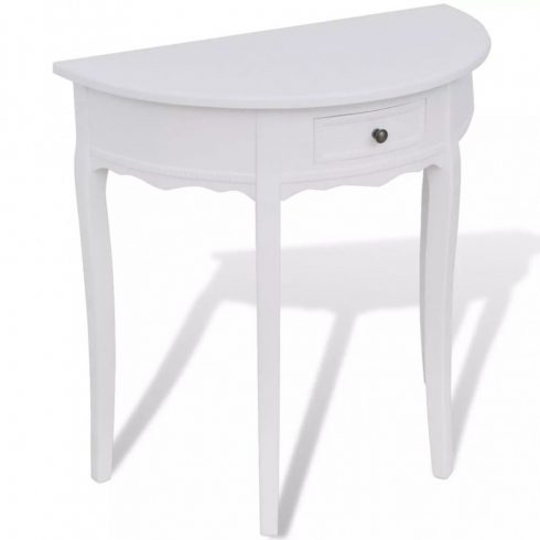 Fehér, félkör alakú, fiókos tálalóasztal