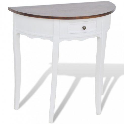Félkör alakú, fiókos tálalóasztal barna asztallappal