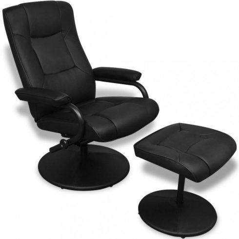 Fekete műbőr tv fotel lábzsámollyal