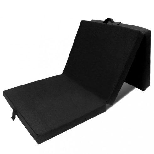 Háromrét összehajtható fekete matrac 70 x 190 x 9 cm