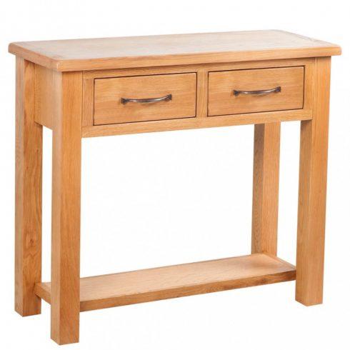 Kétfiókos tömör tölgyfa tálalóasztal 83 x 30 x 73 cm