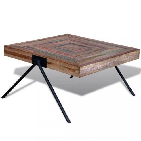Újrahasznosított tíkfa dohányzóasztal v-alakú lábakkal