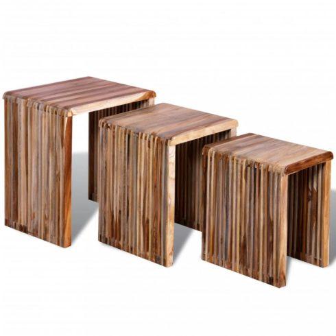 3 db egymásba tolható tömör újrahasznosított tíkfa asztal