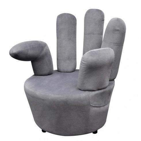 Szürke bársony kéz alakú szék