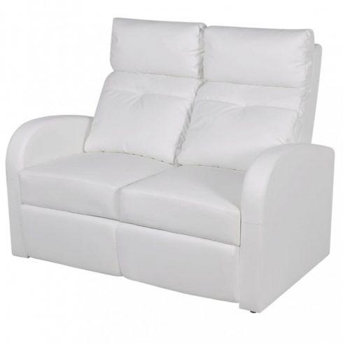 2 személyes fehér, dönthető támlájú, műbőr fotel