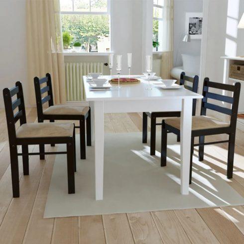 4 db barna négyszög alakú fa étkezőszék