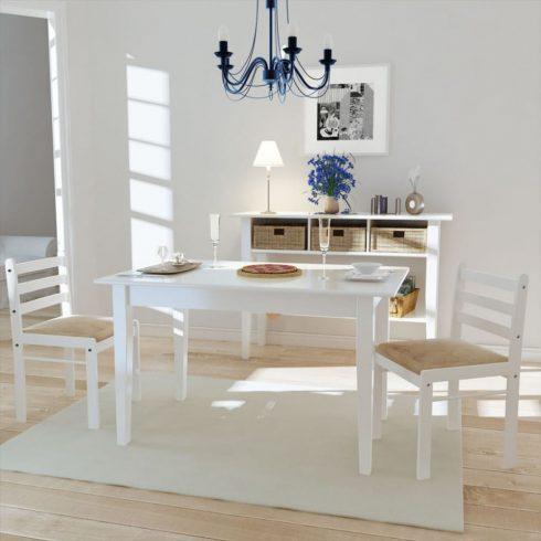 2 db fehér négyszög alakú fa étkezőszék