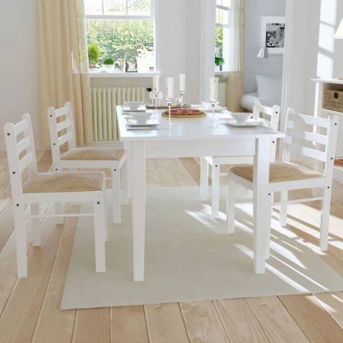 4 db fehér négyszög alakú fa étkezőszék