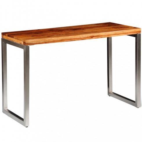 Tömör kelet-indiai rózsafa étkezőasztal / íróasztal acél lábbal